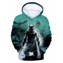 Popular Game Figure Print Loose Fit Pullover Hoodie