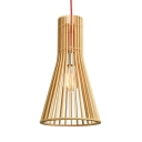 Wood Cone-Shaped Pendant Light Single Light Modern Hanging Light for Porch, 14