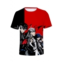 Popular Game Figure Print Basic Round Neck Short Sleeve T-Shirt