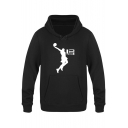 American Basketball Player Basic Long Sleeve Loose Fit Casual Graphic Hoodie