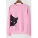 Lovely Cat Printed Loose Casual Long Sleeve Sweatshirt