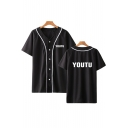 Fashion Letter YOUTH Print Button-Front Short Sleeve Baseball Shirt