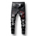 Cool Dragon Cloud Embroidery Distressed Black Regular Fit Ripped Jeans