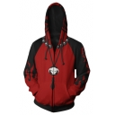 Hot Anime White Beard Legion Flag Happy Face Skull Cosplay Costume 3D Printed Zip Up Red Hoodie