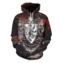 Harry Potter New Stylish 3D Printed Long Sleeve Burgundy Drawstring Hoodie