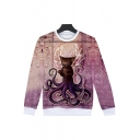 Octopus Series Fashion 3D Printed Round Neck Long Sleeve Unisex Pullover Sweatshirt