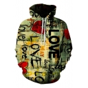 Heart Love Street Style Graffiti 3D Printed Loose Relaxed Green Hoodie