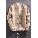 Men's Casual Long Sleeve Stand Collar Drawstring Hem Loose Breathable Plain Linen Jacket