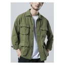 Men's Retro Army Green Multi Pockets Long Sleeve Casual Button Closure Field Jacket