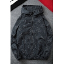 New Style Constellations Printed Long Sleeve Zip Placket Sunscreen Hoodie Jacket