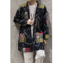 Retro Style Navy Tribal Print Long Sleeves Loose Fit Men's Open Front Coat