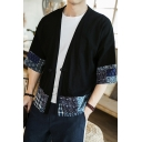 Men's Linen Retro Chinese Style Frog Button Tribal Printed Loose Shirt Cardigan Kimono
