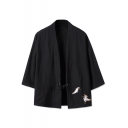Retro Three-Quarter Sleeves Tied Waist Embroidered Crane Print Cardigan Kimono for Men