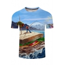 Funny 3D Comic Fishing On A Sandwich Short Sleeve Round Neck Light Blue T-Shirt