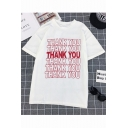 Summer Cool Letter THANK YOU Printed Loose Fit Short Sleeve T-Shirt