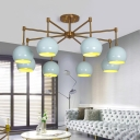 Mint Green Global Shade Chandelier Lamp Nordic Style Metal 3/6/8 Lights Hanging Lamp for Bedroom