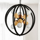 Open Bulb Chandelier Lighting with Black Sphere Metal Frame Contemporary 6 Heads Hanging Lamp