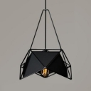 Geometric Ceiling Pendant Light with Black/White Metal Frame Modern Design 1-Light Hanging Light Fixture