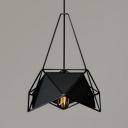 Geometric Ceiling Pendant Light with Black/White Metal Frame Modern Design 1-Light Hanging Light Fixture
