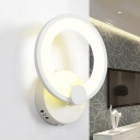 Circular LED Wall Lamp Minimalist Modern Bedroom Bedside Acrylic Wall Sconce in White