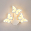3 Heads Butterfly Wall Light Sconce Amusement Park Kindergarten LED Wall Mount Light with Acrylic Shade