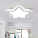 Acrylic Shade Star Flush Light Fixture Simplicity Children Room LED Flush Ceiling Light in White