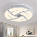 Ultrathin Semi Flush Mount Modern Design Living Room LED Semi Ceiling Lamp with Acrylic Shade in White