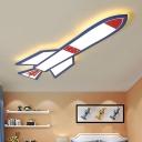 Cartoon Rocket LED Flush Mount Boys Room Game Room Ultrathin Acrylic Lighting Fixture in Warm/White