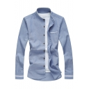 Men's Simple Plain Stand-Collar Long Sleeve Loose Fit Button-Front Shirt