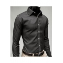 Men's Fashion Vertical Pinstriped Printed Long Sleeve Casual Black Fitted Shirt