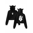 Marshmello Cute Cartoon Wing Letter BE MINE Heart Cat Ear Cropped Casual Hoodie