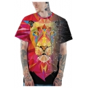 Fashion 3D Geometric Tiger Printed Round Neck Short Sleeve Loose Fit Red T-Shirt