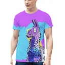 Popular Game 3D Printed Round Neck Short Sleeve Blue and Purple T-Shirt