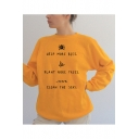 Hot Fashion Letter HELP MORE BEES PLANT MORE TREES CLEAN THE SEAS Printed Long Sleeve Crewneck Cotton Sweatshirt