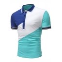 Men's New Fashion Colorblocked Short Sleeve Three-Button Casual Loose Fit Polo Shirt