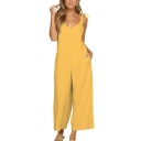Fashion Bow-Tied Strap Womens Summer Simple Plain Wide-Leg Casual Jumpsuits