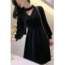 Womens Chic V-Neck Long Sleeve Thick Velvet Midi A-Line Black Dress