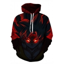 Cool 3D Comic Character Print Long Sleeve Pullover Red Hoodie