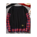 Mens Fashion Cool Plaid Patched Long Sleeve Round Neck Hip Hop Loose Sweatshirt
