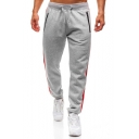 Mens Trendy Striped Side Drawstring-Waist Zip Pocket Loose Casual Cotton Sweatpants