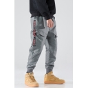 Guys Cool Letter Tape Side Flap Pocket Elastic Waist Loose Casual Grey Cargo Pants