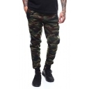 Mens Fashion Camo Pattern Striped Side Casual Sporty Army Green Track Pants