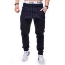 New Stylish Plain Drawstring Waist Flap Pocket Side Elastic Cuff Fitted Cargo Pants