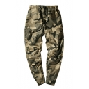 Men's New Stylish Camo Pattern Drawstring Waist Casual Loose Cotton Pants