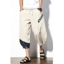 Summer New Fashion Drawstring Waist Loose Casual Linen Cropped Bloomers Wide-Leg Pants for Guys