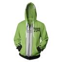 New Stylish 3D Comic Printed Long Sleeve Zip Up Green Hoodie