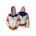Sailor Moon 3D Comic Printed Long Sleeve Casual Zip Up White Hoodie