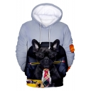 French Dog Cool 3D Printed Long Sleeve Casual Sport Pullover Drawstring Hoodie