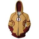 Trendy 3D Print Cosplay Costume Long Sleeve Full Zip Khaki Hoodie