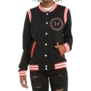Stripe Printed Stand-Collar Long Sleeve Button-Front Black Baseball Jacket